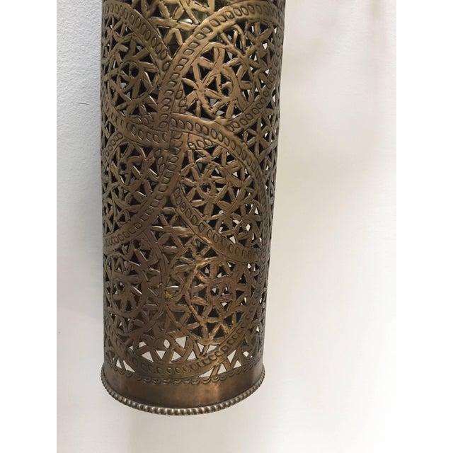 Metal Pair of Moroccan Brass Pendants Lights with Moorish Filigree Designs For Sale - Image 7 of 13
