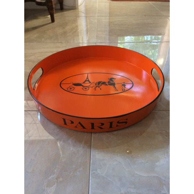 Orange Lacquered Hermes Inspired Bar Tray For Sale - Image 11 of 11