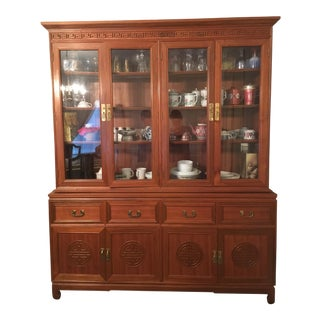 1980s Chinese Style Solid Teak Display Cabinet For Sale