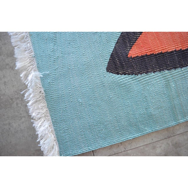 Turquoise Paul Klee - Silence of the Angel - Inspired Silk Hand Woven Area - Wall Rug 4′7″ × 5′7″ For Sale - Image 8 of 11