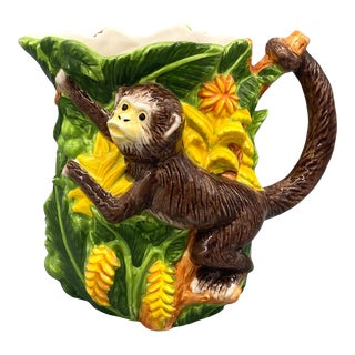 20th Century Tropical Monkey Ceramic Pitcher For Sale