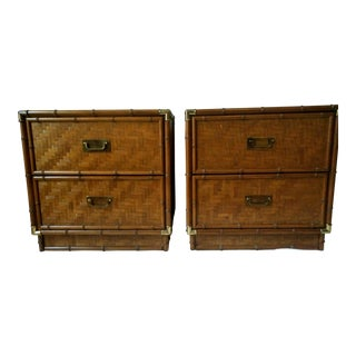 1960s Campaign Dixie Furniture Co Faux Bamboo & Woven Wicker Nightstands - a Pair For Sale