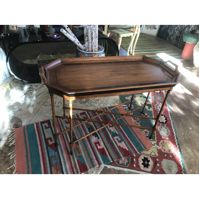 Tomlinson Tomlinson Walnut Mid-Century Tray Table For Sale - Image 4 of 9