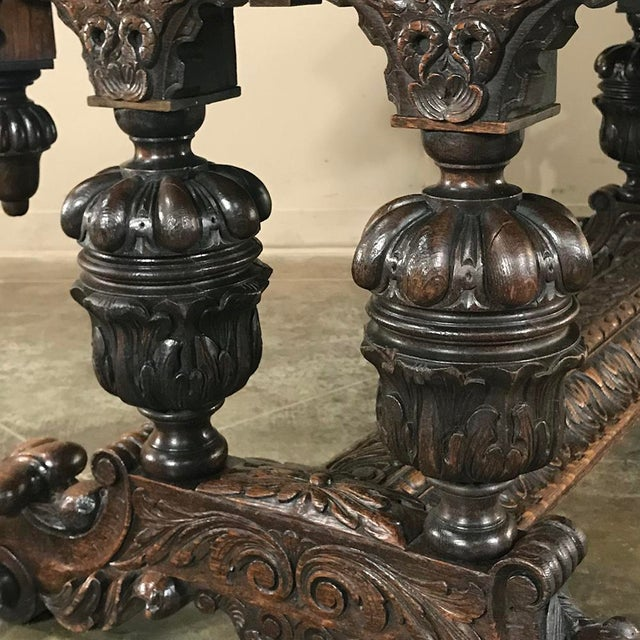 19th Century French Renaissance Writing Table With Dolphins For Sale - Image 10 of 13