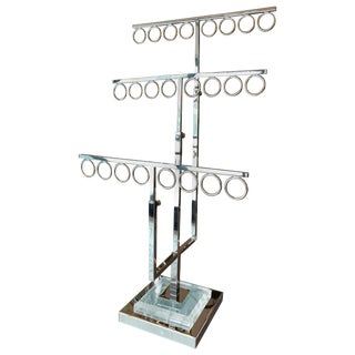 Jewelry/Tie Holder in Lucite and Polished Nickel by Charles Hollis Jones For Sale