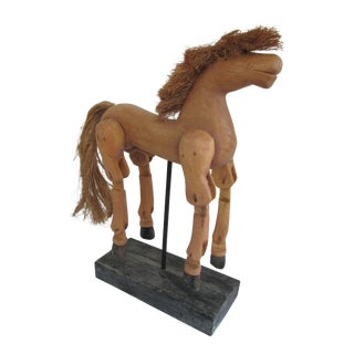 Hand-Carved Wood Horse on Wood Stand For Sale