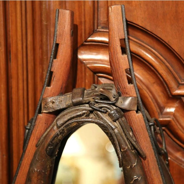 19th Century French Leather Horse Collar Made Into Mirror For Sale - Image 4 of 5