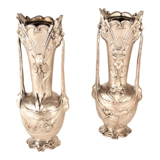 19th Century Art Nouveau Silver Metal Vases Signed Galien - a Pair For Sale
