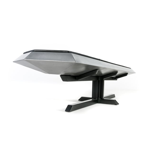 Silver Contemporary Topher Gent Bench No. 10 Steel Leather Cantilever Bench For Sale - Image 8 of 9