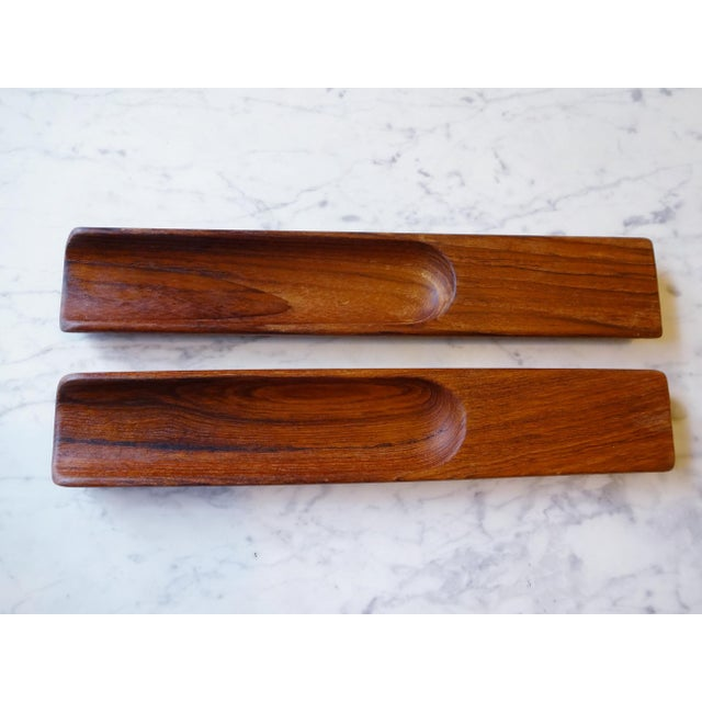 Rare set of salad serving utensils, by Dansk. Very beautiful staved teak wood. Possibly designed by Jens Quistgaard, for...
