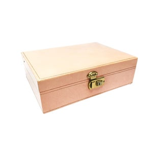Vintage Mid Century Mele Pink and Gold Jewelry Box For Sale