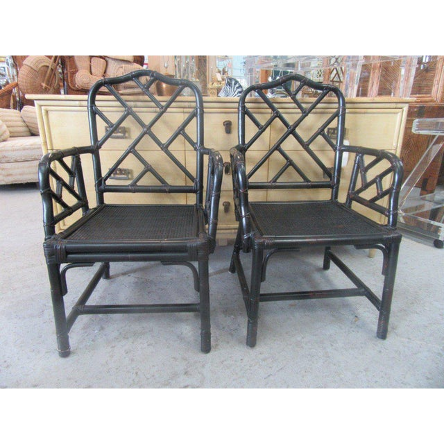 Rattan Chippendale Arm Chairs - a Pair - Image 6 of 6