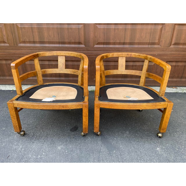 1970s Vintage Drexel Exposed Wood Frame Club Chairs For Sale In Philadelphia - Image 6 of 9