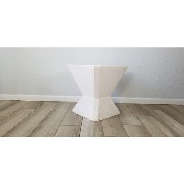 Mid-Century Modern Vintage Postmodern Geometric Plaster Side Table For Sale - Image 3 of 13