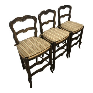 Antique French Bar/Counter Striped Fabric Stools C. 1930 - Set of 3 For Sale