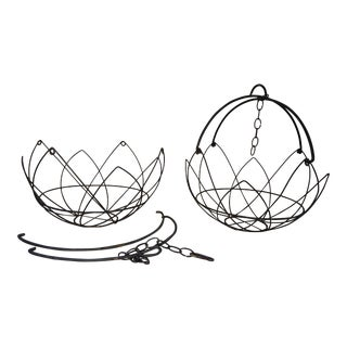 Mid-Century Modern Hanging Lotus Baskets - A Pair