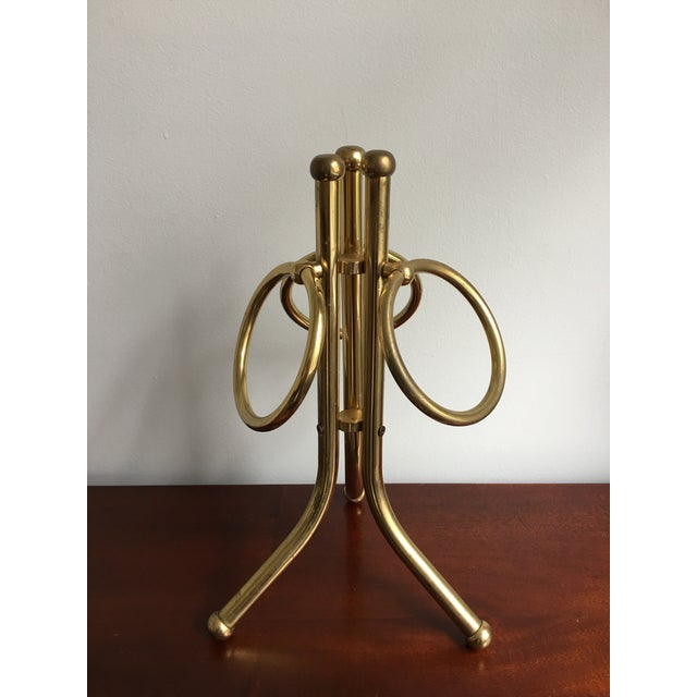 Gold Mid-Century Brass Hand Towel Stand For Sale - Image 8 of 8