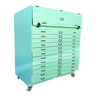 Large 1950s Flat File Cabinet in Mint Green, Custom Vintage For Sale
