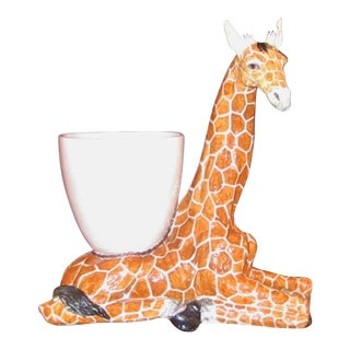 Large Italian Ceramic Giraffe Statue Planter For Sale