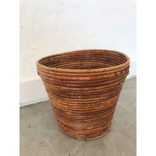 Gabriella Crespi Style Bamboo Split Reed Rattan Waste Basket or Trash Bin Preview