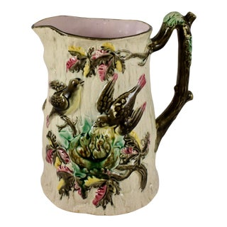 English Majolica Bird Nest Family Pitcher, Circa 1875 For Sale