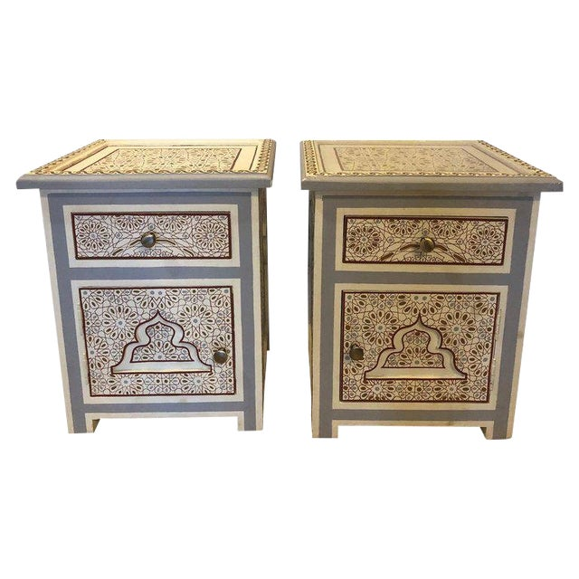 Moorish Style White Blue-Gray and Burgundy Night Stands - a Pair For Sale