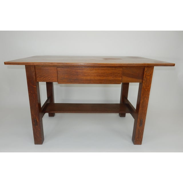 Antique Signed Charles Limbert Mission Oak Library Table/ Desk For Sale - Image 12 of 13