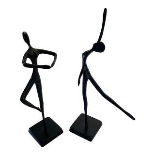 Mid-Century Bodrul Khalique Ballerina Black Bronze Figures - a Pair For Sale