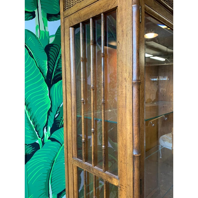 Wicker Faux Bamboo and Rattan China Cabinet by American of Martinsville For Sale - Image 7 of 10