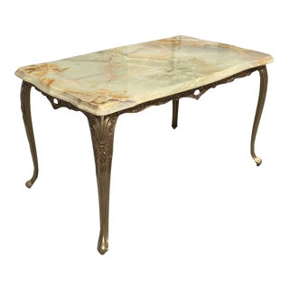1940s French Maison Jansen Style Bronze & Onyx Top Coffee Table For Sale