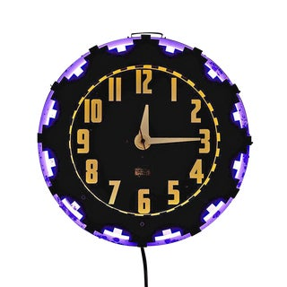 Advertising Clock W/ Aztec Motif by Electric Neon Clock Co Circa 1940s