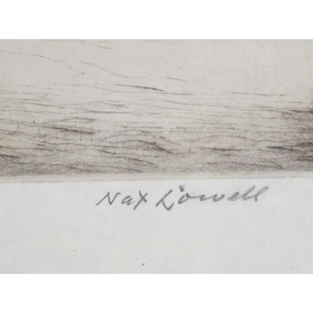 """Vintage Nat Lowell """"Tip of Manhattan"""" Ca. 1940 Signed Limited Edition Etching the Battery, Lower Manhattan, Original Label, Professionally Conserved For Sale In Philadelphia - Image 6 of 8"""