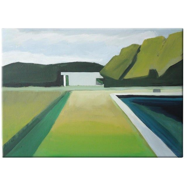 """Abstract Landscape Poolside Painting - 30"""" x 40"""" - Image 1 of 5"""
