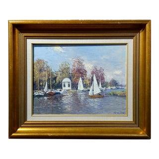 Niek Van der Plas -The Harbor in Warmond -Oil Painting -Dutch Impressionist
