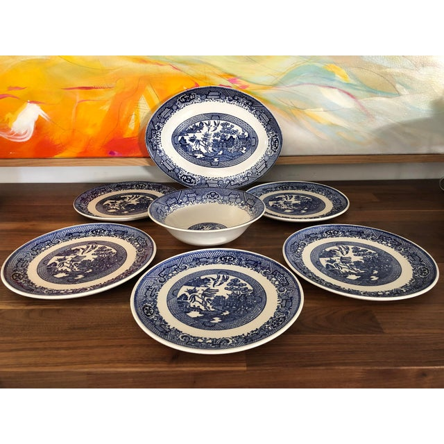 """Fabulous set of Blue Willow transferware, stoneware dishes - 7 pieces. Made in USA. (1) round serving bowl: 8.5"""" diameter..."""