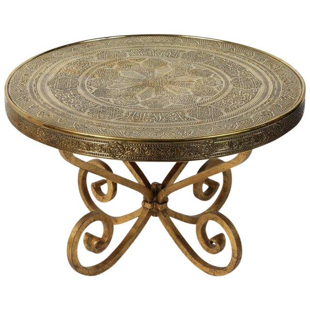 Middle Eastern Syrian Antique Brass Tray Table on Gilt Iron Stand For Sale