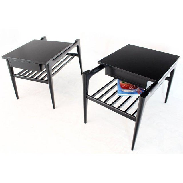 Pair of Black Ebonised One Drawer End Nightstands With Magazine Rack Sculptural For Sale - Image 4 of 13