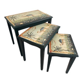 Middle Eastern Camel Oasis Hand Painted Boho Nesting Tables - Set of 3 For Sale