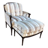 Image of Superb Brunschwig & Fils Filk Velvet Upholstered Louis XVI Bergere Chair & Ottoman For Sale