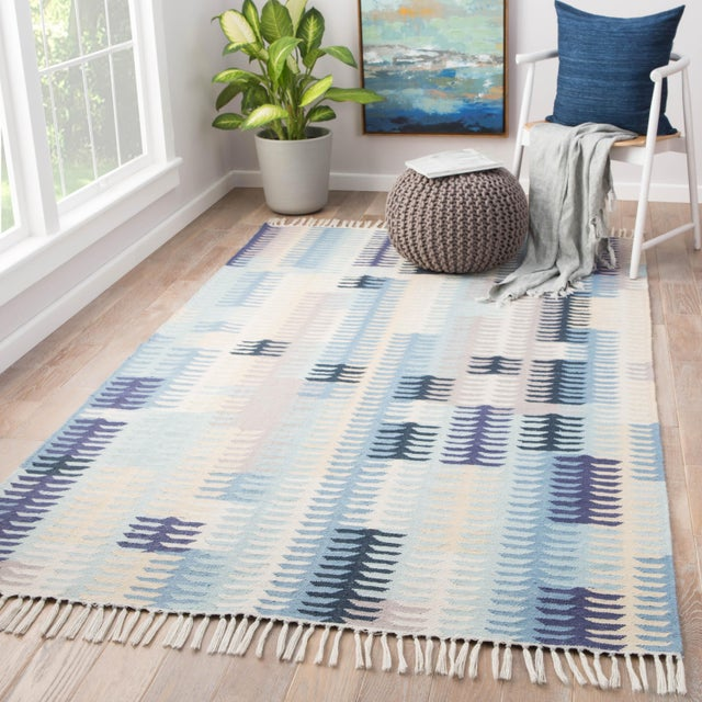 2010s Jaipur Living Carver Indoor/ Outdoor Abstract Blue/ Gray Area Rug - 8' X 10' For Sale - Image 5 of 6