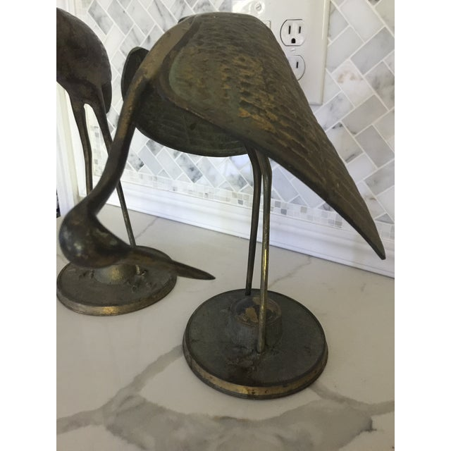 Brass Crane Statues- a Pair For Sale - Image 9 of 13
