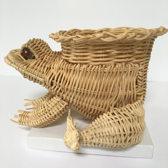 Cottage 20th Century Cottage Marble Eyed Wicker Frog Planter/Catchall For Sale - Image 3 of 10