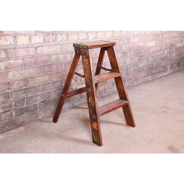 Mid 20th Century Vintage Hand-Painted Wooden Step Ladder For Sale - Image 5 of 10