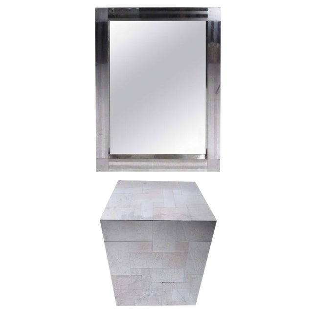 Paul Evans Patchwork Console Table & Wall Mirror - A Pair For Sale