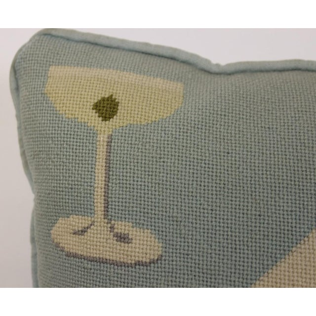 """Fab Tiffany Blue """"Playing Cards & Martini Glass"""" Petit-Needlepoint Pillow For Sale - Image 5 of 5"""
