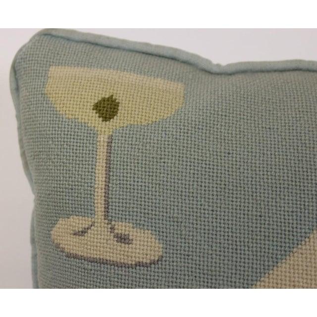 "Fab Tiffany Blue ""Playing Cards & Martini Glass"" Petit-Needlepoint Pillow - Image 5 of 5"