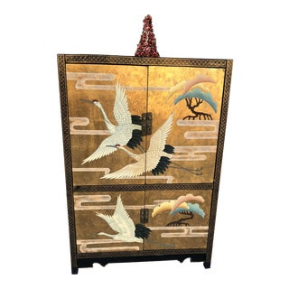 Asian Gold Leaf Lacquer Bar Cabinet For Sale
