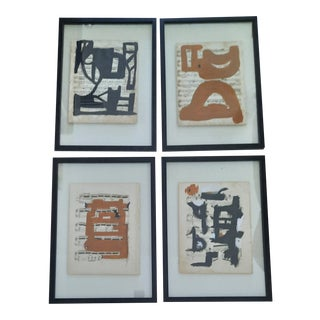 Abstract Paintings on Music Sheets, Set of 4 For Sale
