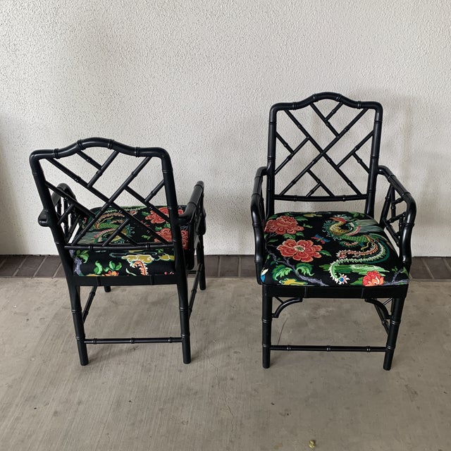 Black Bamboo Chairs- a Pair For Sale - Image 10 of 13