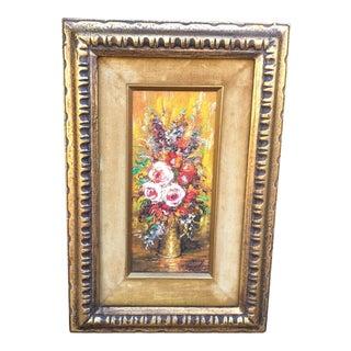 Vintage Mid-Century Miniature Floral Bouquet Original Painting For Sale